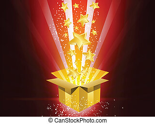boîte, doré, étoiles, cadeau, noël