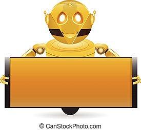 boîte, doré, 2, robot, texte