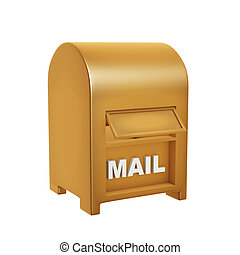 boîte, doré, courrier