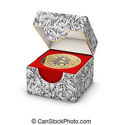 boîte, doré, gros plan, bijouterie, bitcoin, illustration, isolé, fond, blanc, 3d