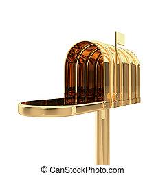 boîte, doré, ouvert, courrier