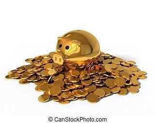 boîte, doré, pièces., argent, illustration, cochon, 3d