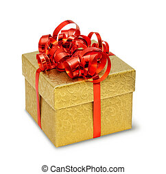 boîte, doré, soyeux, ornement, arc, présent, brocart, rouges