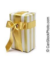 boîte, doré, tonalité, cadeau, or, duo, sur, isolé, arc,...
