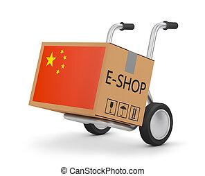 boîte, drapeau, chinois, charrette