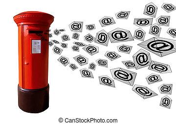 boîte, e-mail, poste, 3d