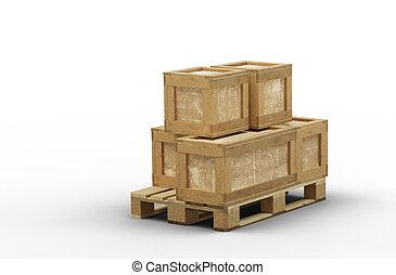 boîte, empilé, différent, transport, bois, taille, palette