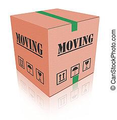 boîte, en mouvement