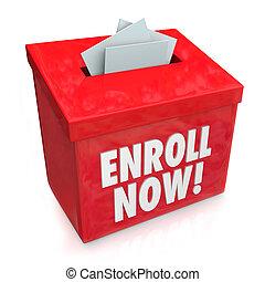 boîte, enroll, campagne, enrollment, conduire, entrée, ...