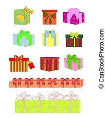 boîte, ensemble, coloré, cadeau, symboles, vecteur