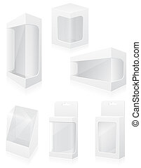 boîte, ensemble, icônes, illustration, emballage, vecteur, transparent
