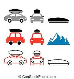 boîte, ensemble, icônes, voiture, toit, ou, vecteur, porteur, étagère