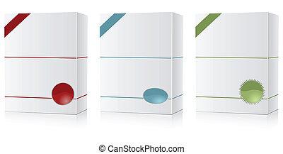 boîte, ensemble, logiciel