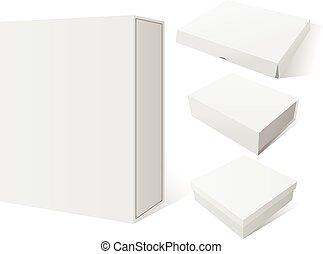 boîte, ensemble, mockup, paquet, quatre, réaliste, vecteur, blanc