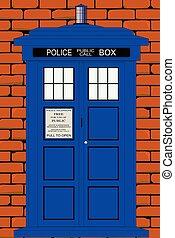 boîte, ensemble, mur, contre, traditionnel, britannique, brique, rouges