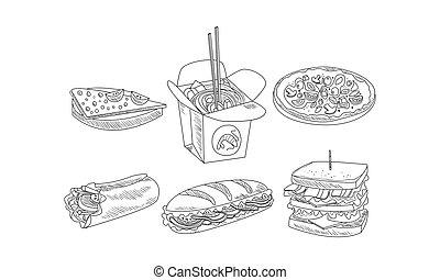 boîte, ensemble, pizza., nourriture, burrito, icons., main, vecteur, conception, jeûne, dessiné, savoureux, sandwichs, nouilles