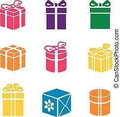 boîte, ensemble, vecteur, cadeau, coloré