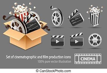 boîte, entiers, cinéma, filmmaking, carton, rempli