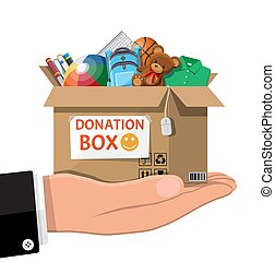 boîte, entiers, livres, vêtements, appareils, jouets, donation