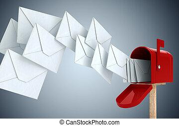 boîte, envoyer enveloppe, 3d