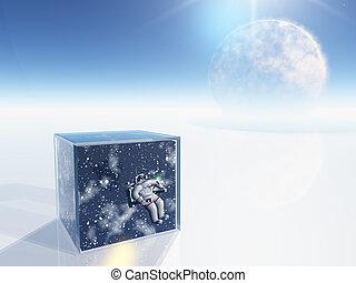 boîte, espace, clair, scène, surréaliste, astronaute, ...