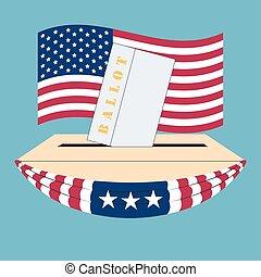 boîte, etats, uni, élection, amérique
