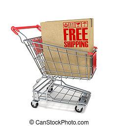 boîte, expédition, achats, gratuite, signe, charrette, carton, rouges, 3d