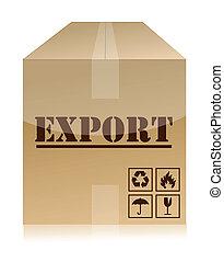 boîte, exportation, sur, conception, illustration