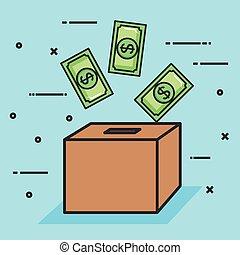 boîte, faire, donation, billet banque, signe