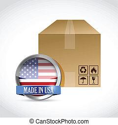 boîte, fait, conception, illustration, usa