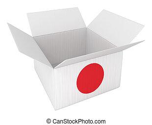 boîte, fait, récipient, isolé, japon, blanc