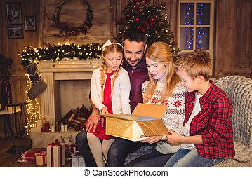 boîte, famille, cadeau, ouverture