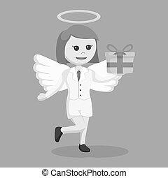 boîte, femme affaires, ange, cadeau