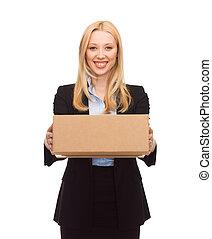 boîte, femme affaires, carton, livrer