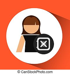 boîte, femme, argent, sûr, graphique, icône