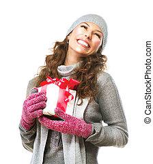 boîte, femme, cadeau, jeune, noël, heureux