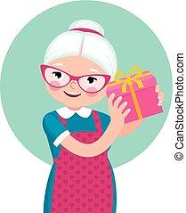 boîte, femme, cadeau, personnes agées, secousses, femme foyer