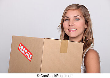 boîte, femme, fragile, jeune, marqué, carton