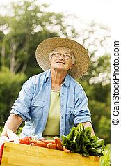 boîte, femme, légumes, tenue, personne agee