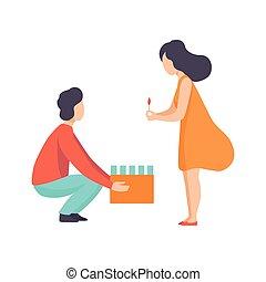 boîte, femme, pyrotechnie, brûlé, couple, jeune, illustration, célébrer, vecteur, fond, carton, mèche, vacances, blanc