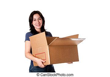 boîte, femme, stockage, porter, en mouvement, ouvert