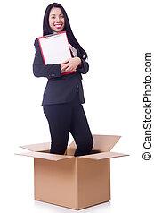 boîte, femme, tampon, papier, dehors