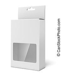 boîte, fenêtre, carton, plastique