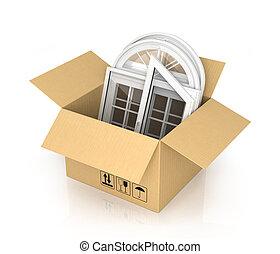 boîte, fenetres, isolé, plastique, fond, blanc, carton