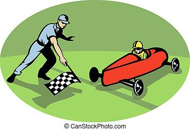 boîte, finition, flag., enjôleur, onduler, checkered, derby, ligne, courses, savon, homme