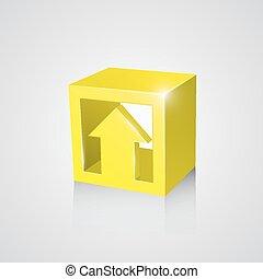 boîte, flèche, jaune