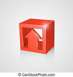 boîte, flèche, rouges