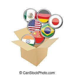 boîte, flags., entiers, conception, illustration