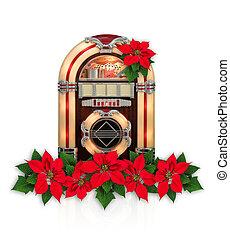 boîte, fleur, ornement, poinsettia, radio, noël, rouges, juke