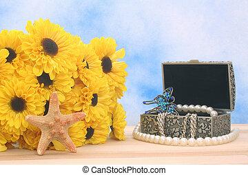 boîte, fleurs, bijouterie